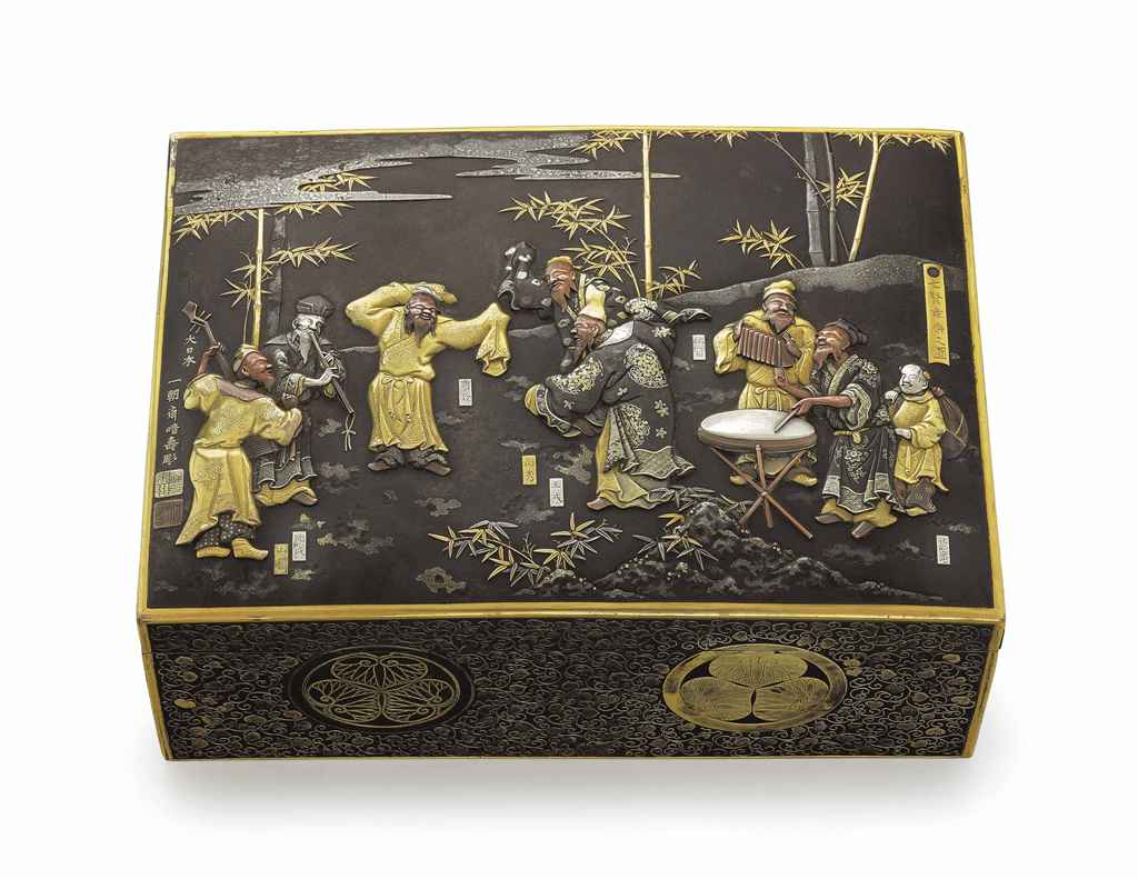 A mixed-metal-inlaid iron box titled Shichiken Bugaku no zu ...