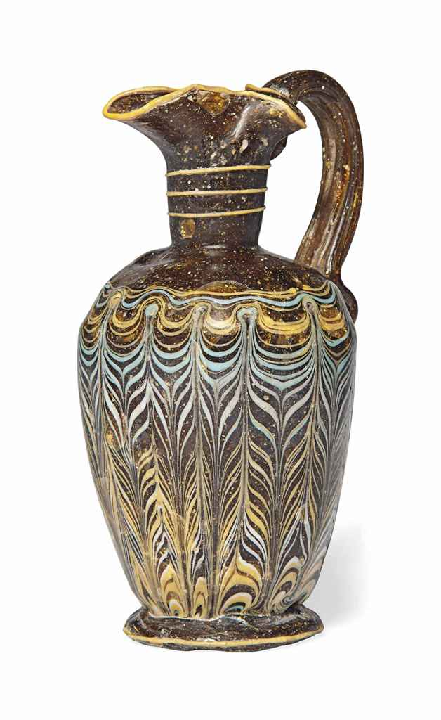 A GREEK CORE-FORMED GLASS OINO