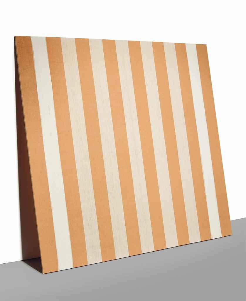 daniel buren b 1939 peinture acrylique blanche sur tissu ray blanc et orange christie 39 s. Black Bedroom Furniture Sets. Home Design Ideas