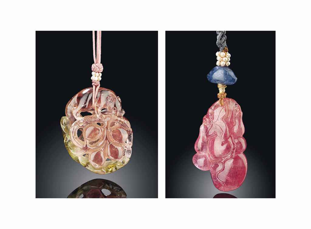 TWO PINK TOURMALINE PENDANTS