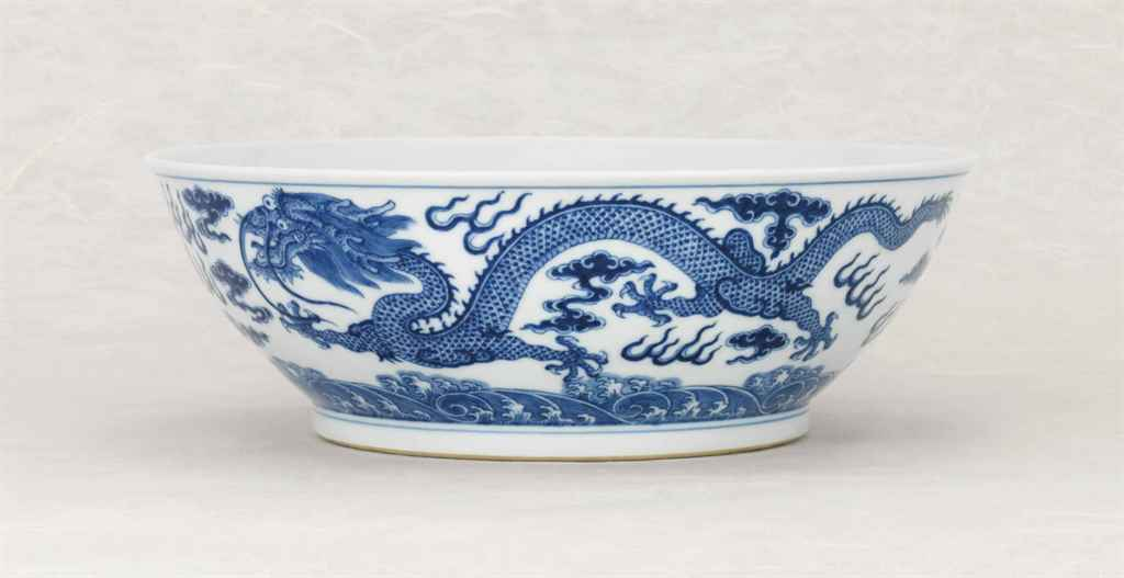 A LARGE BLUE AND WHITE 'DRAGON