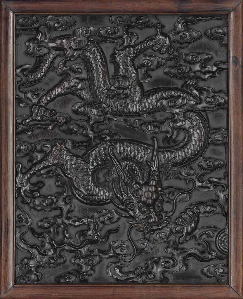 A CARVED ZITAN 'DRAGON' PANEL