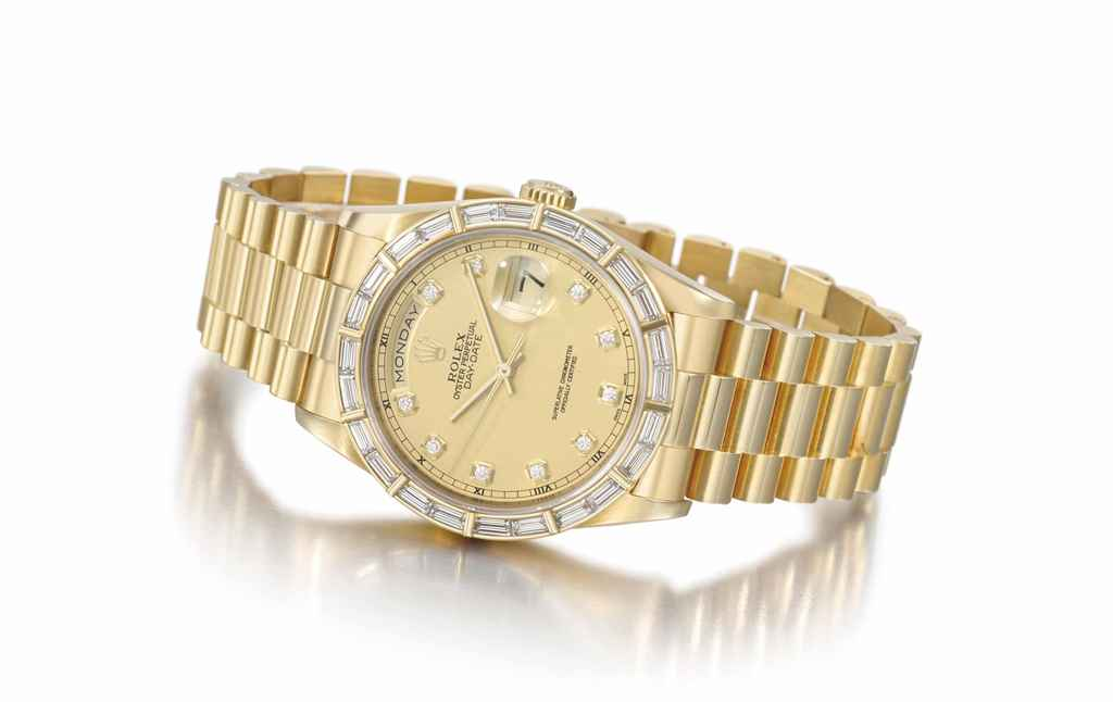 Rolex. A rare 18K gold and dia