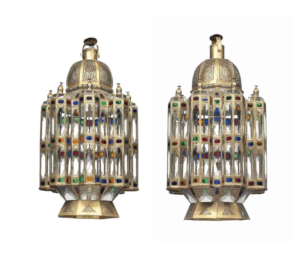 A PAIR OF MOROCCAN BRASS OCTAG