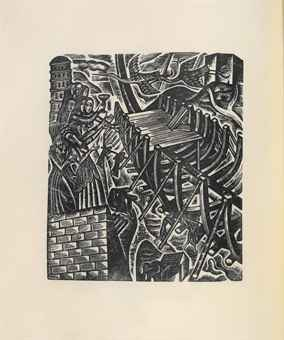 DAVID Jones (1895-1974). The Chester Play of the Deluge. London: Clover Hill, 1977. 2 volumes including the separate portfolio, 2° (303 x 251mm). Printed on vellum, 10 engravings in text and separate portfolio containing 3 sets of the wood-engravings. Burgundy morocco by Sangorski & Sutcliffe, matching cloth box.
