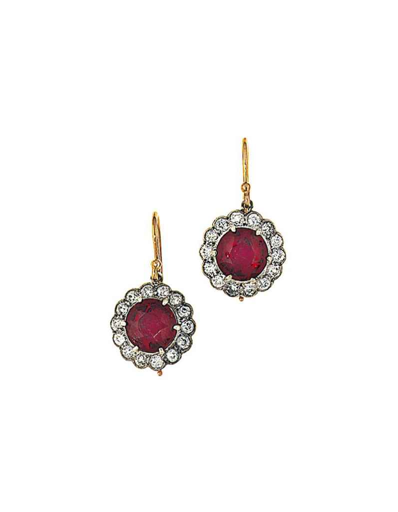 A pair of red spinel and diamond cluster earrings