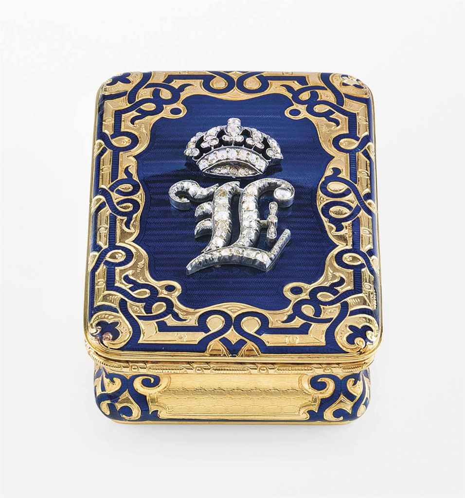 A FRENCH JEWELLED ENAMELLED GOLD PRESENTATION SNUFF-BOX