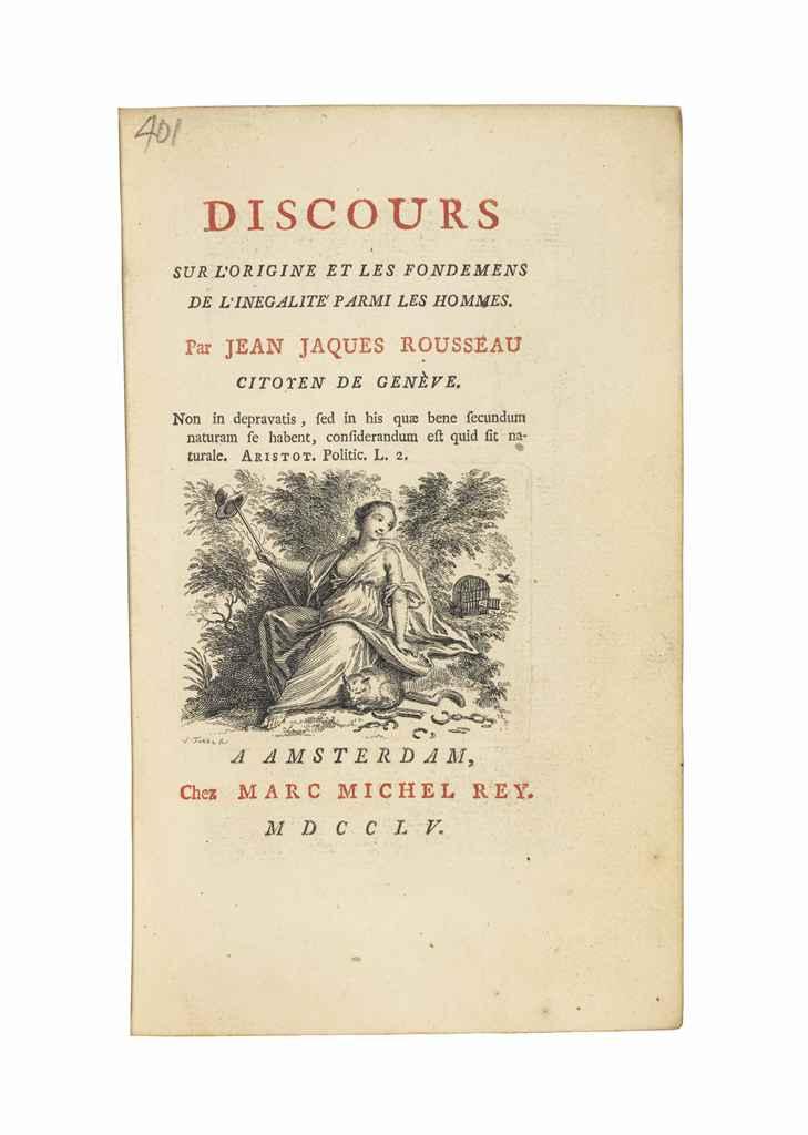 ROUSSEAU, Jean Jacques (1712-1778) Discours sur l'origine e...