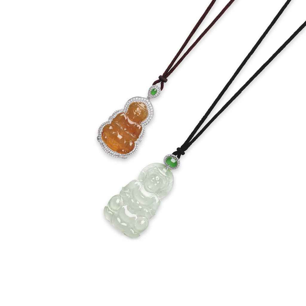 TWO JADEITE AND DIAMOND PENDENT NECKLACES