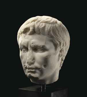 A ROMAN MARBLE PORTRAIT HEAD OF THE EMPEROR AUGUSTUS