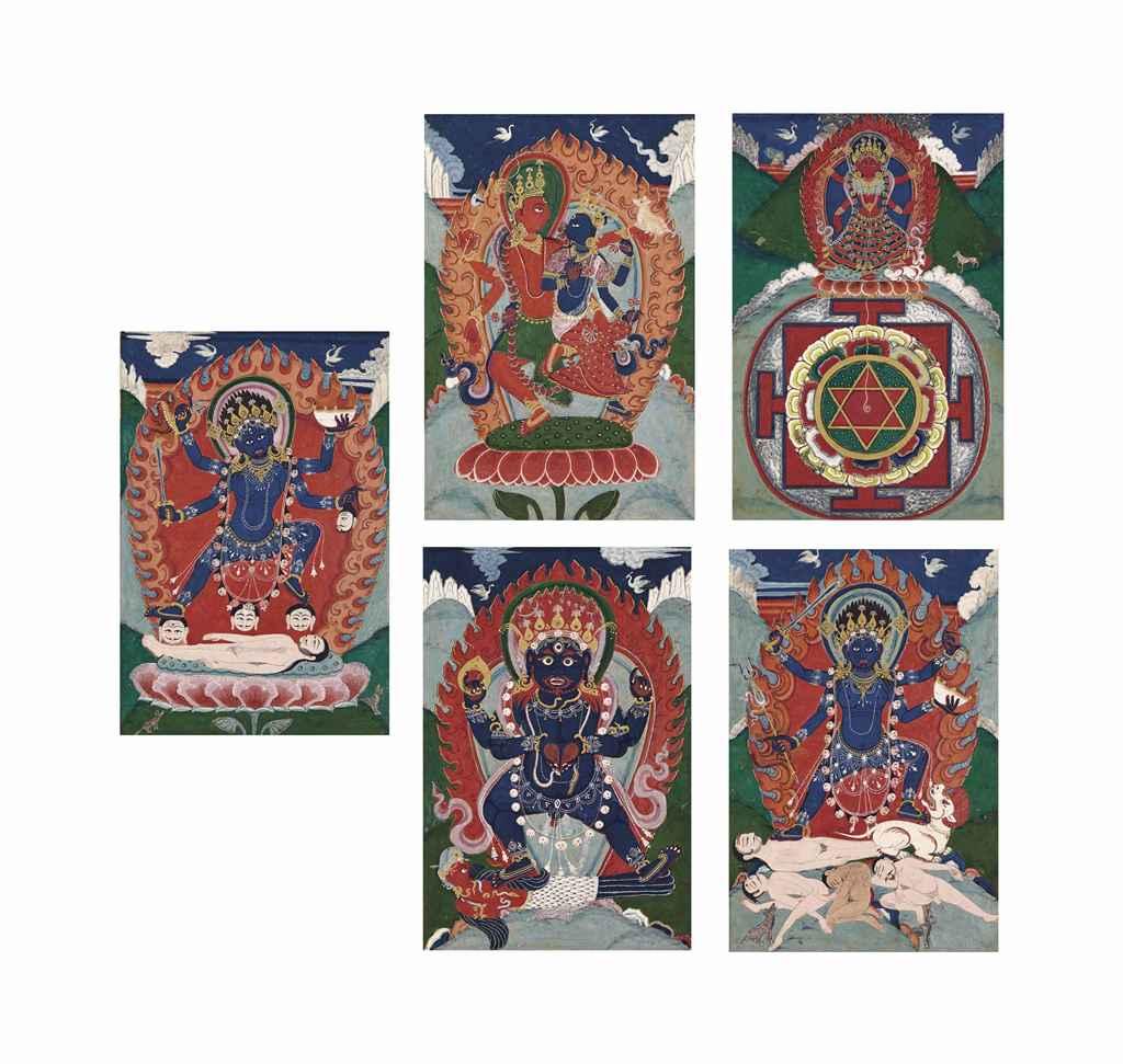 Cinq peintures gouache sur papier nepal xixeme siecle - Peinture sur papier peint ...