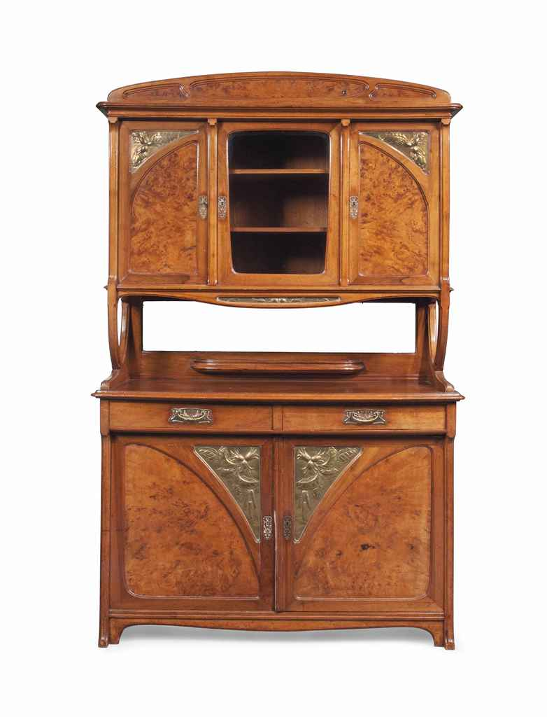 an edouard diot art nouveau walnut burr elm and brass buffet circa 1900 christie 39 s. Black Bedroom Furniture Sets. Home Design Ideas
