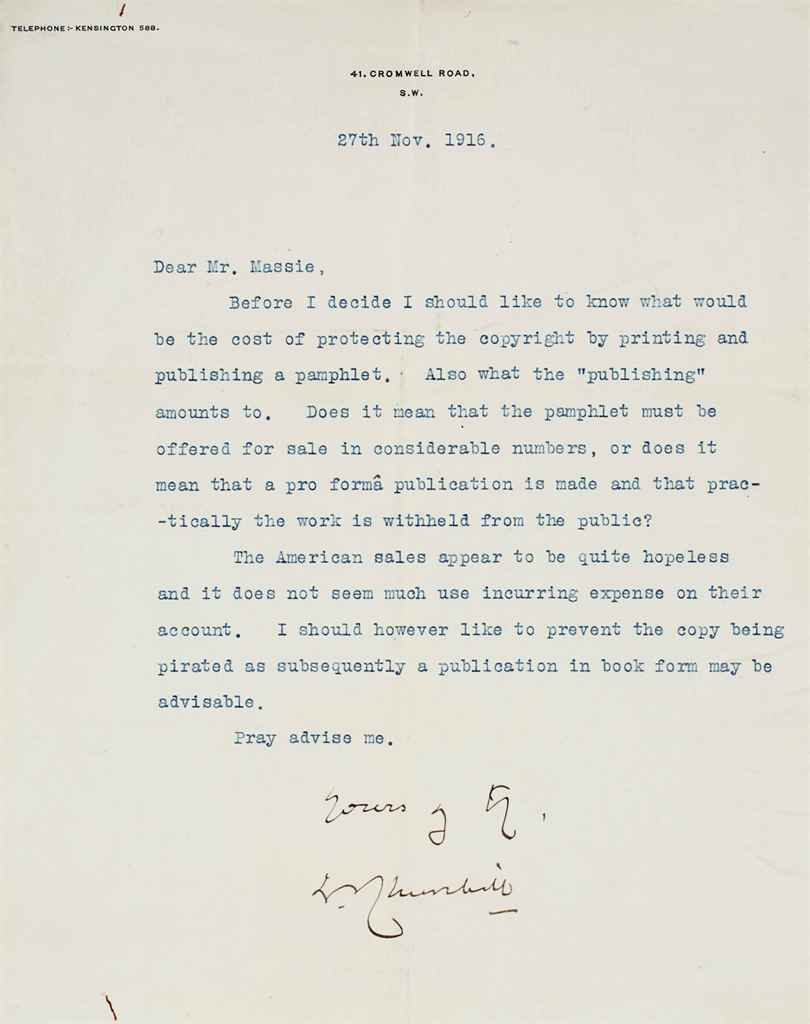 CHURCHILL, Winston S A group of seven typed letters signed (...