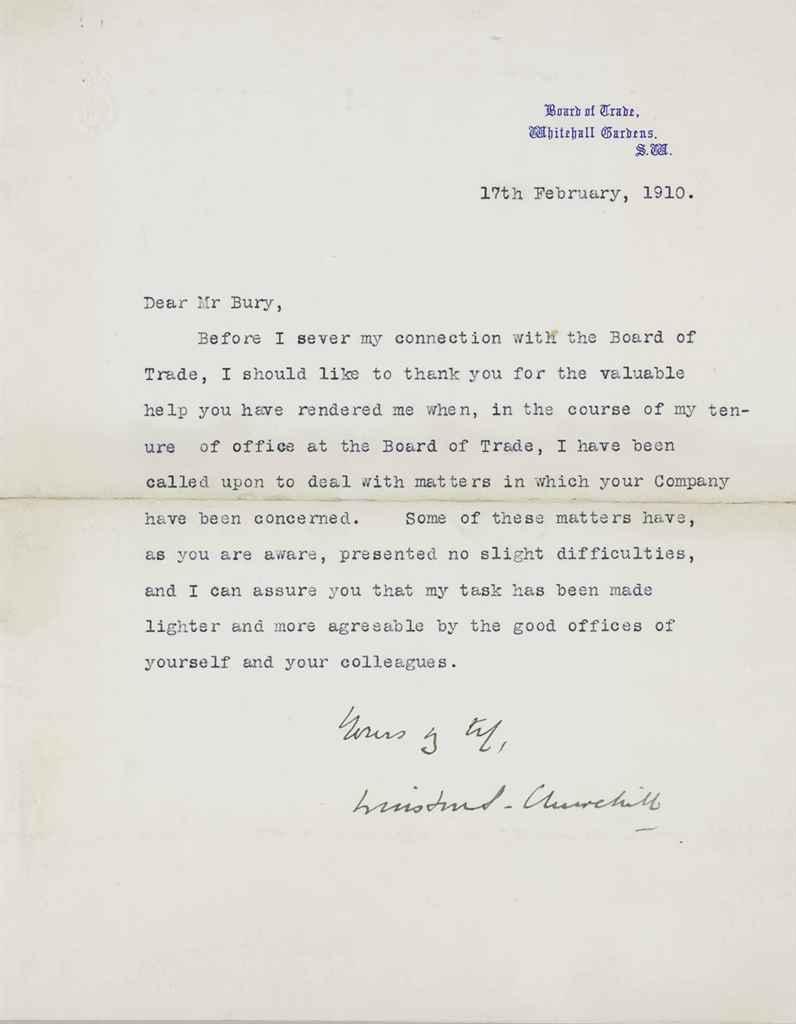 CHURCHILL, Winston S Typed letter signed (