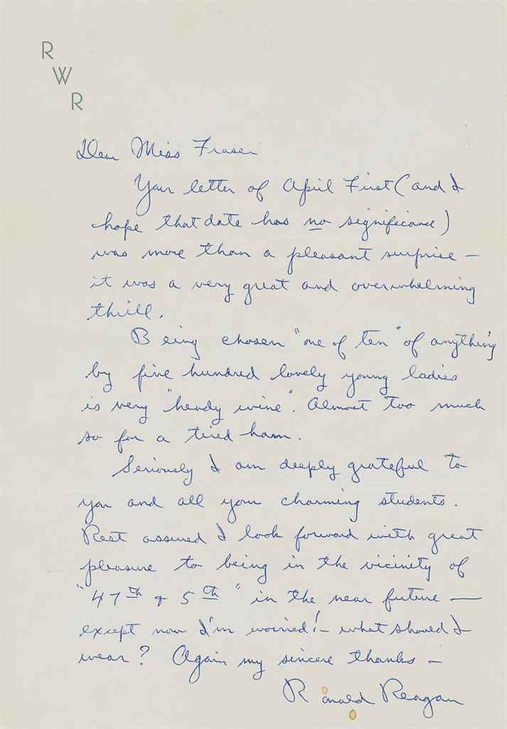 REAGAN, Ronald (1911-2004), President Autograph letter signe...
