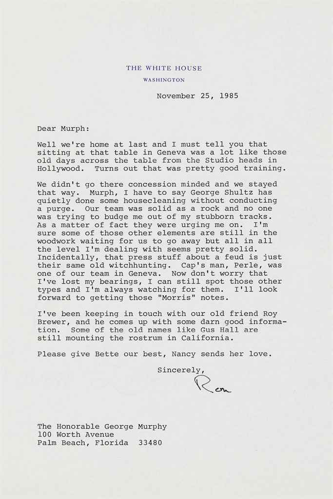 REAGAN, Ronald Typed letter signed (