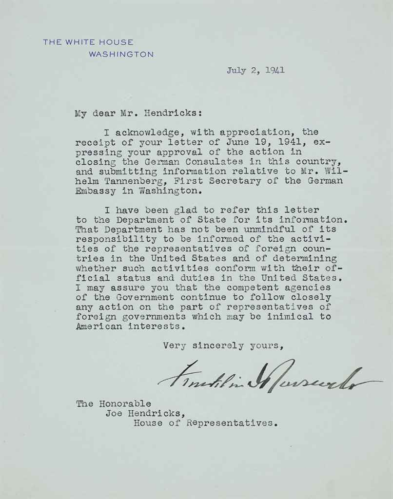 ROOSEVELT, Franklin D Typed letter signed (