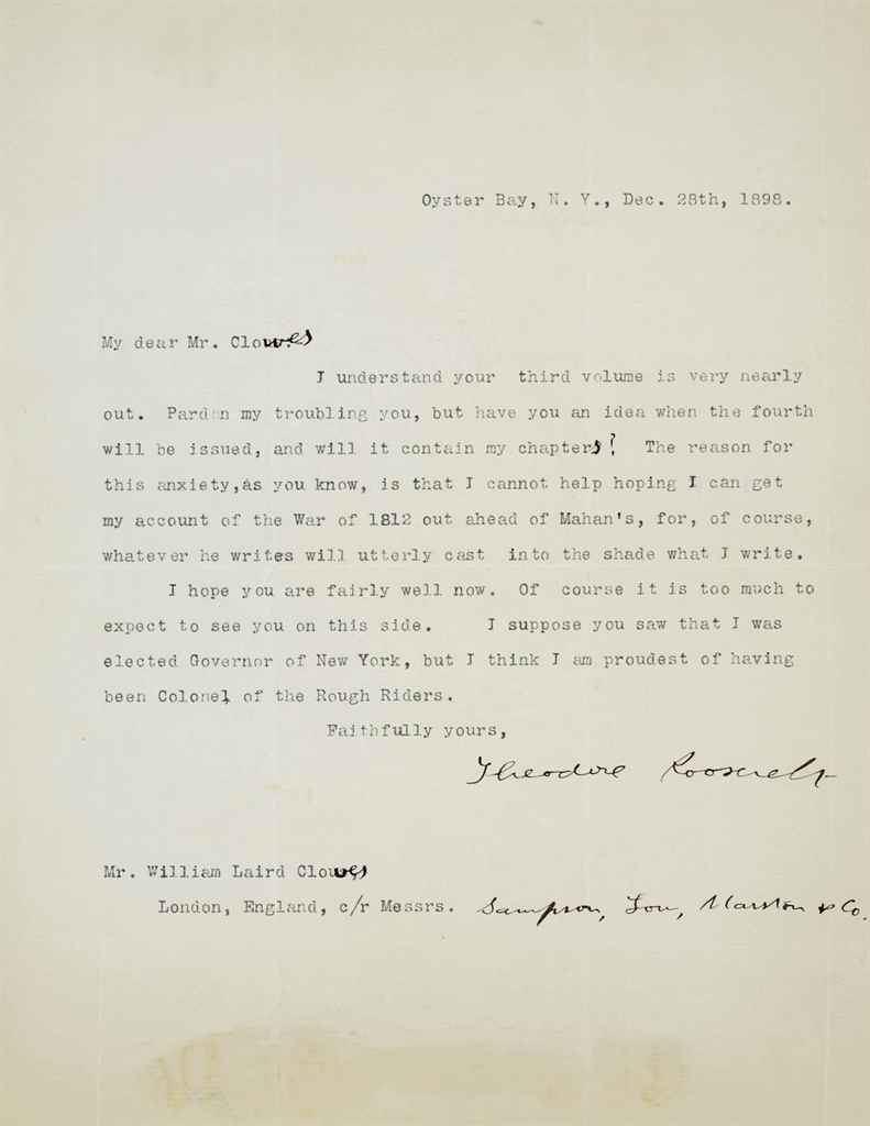 ROOSEVELT, Theodore (1858-1919), President Typed letter sign...