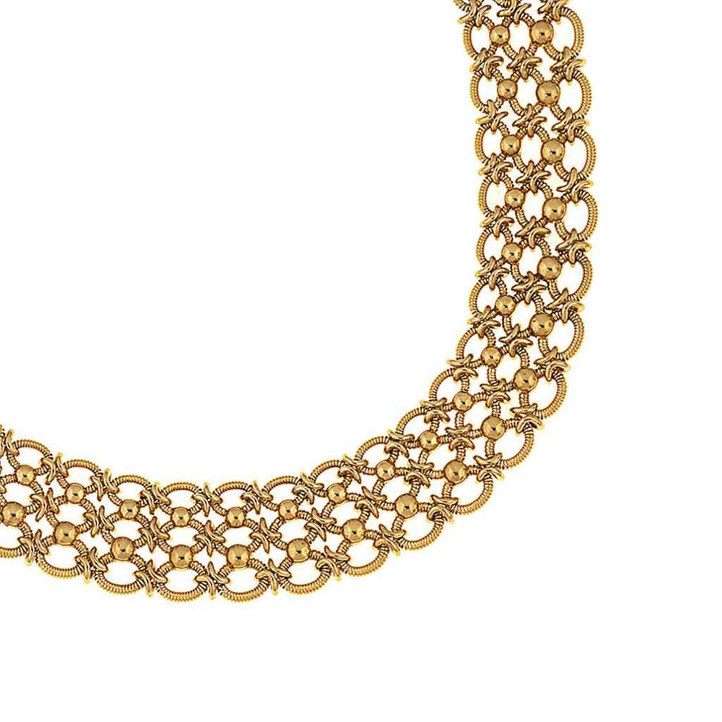 A fancy-link necklace and bracelet, by Cartier