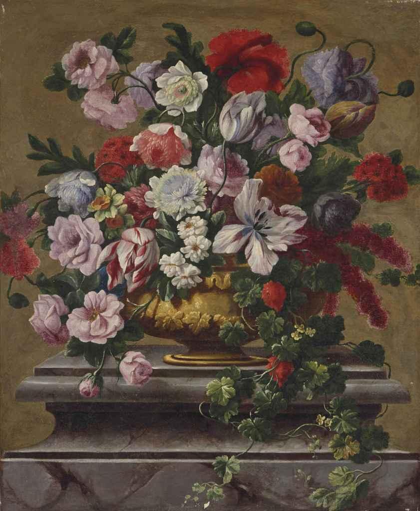 suiveur de jean baptiste bosschaert vase de fleurs sur un pi destal en marbre christie 39 s. Black Bedroom Furniture Sets. Home Design Ideas