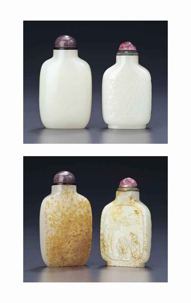 TWO WHITE AND RUSSET JADE SNUFF BOTTLES
