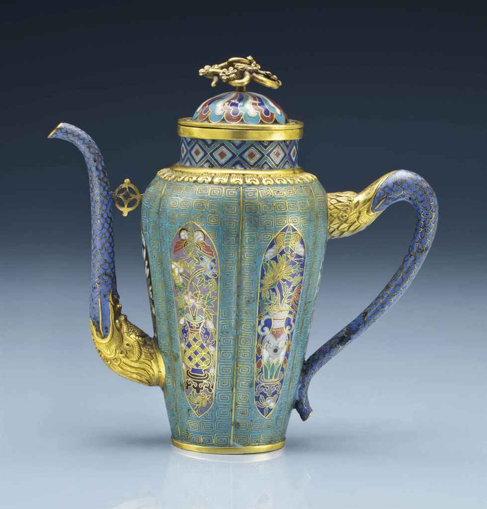 An Unusual Cloisonn Enamel Ewer And Cover 19th Century