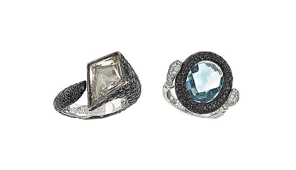 Two gem-set dress rings, by De Grisogono