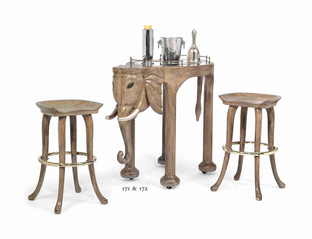 A Grey Painted Elephant Bar And Stools By Marge Carson