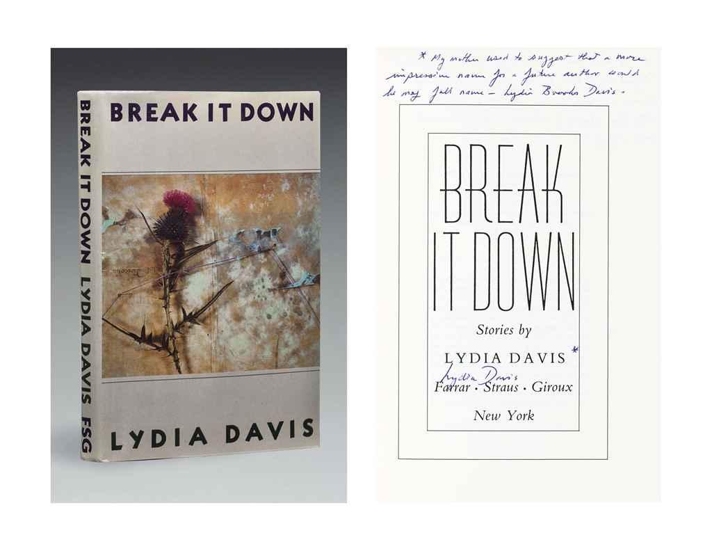 DAVIS, Lydia (b. 1947). Break