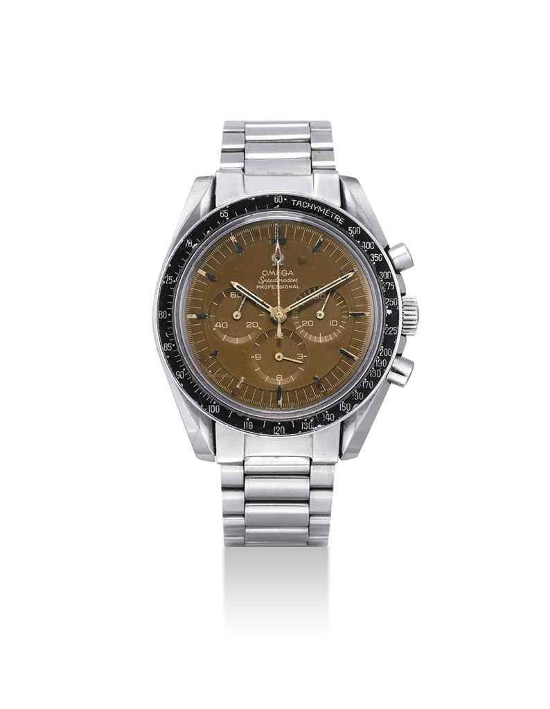 OMEGA A RARE STAINLESS STEEL CHRONOGRAPH WRISTWATCH WITH BRO...