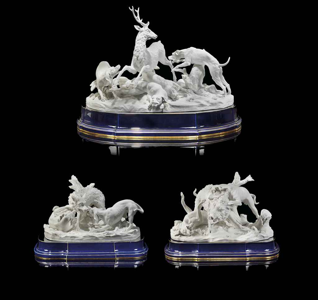 A GROUP OF THREE SEVRES AND SEVRES-STYLE WHITE BISCUIT HUNTI...