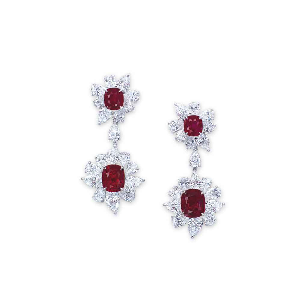 AN IMPORTANT PAIR OF RUBY AND DIAMOND EAR PENDANTS, BY FAIDE...