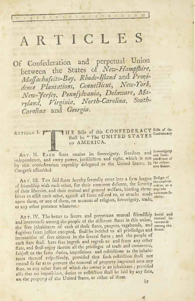 thesis on the articles of confederation The articles of confederation were introduced in 1777 and this gave the power to individual states during 1781-1789 the aricles of confederation provided the united states with an.