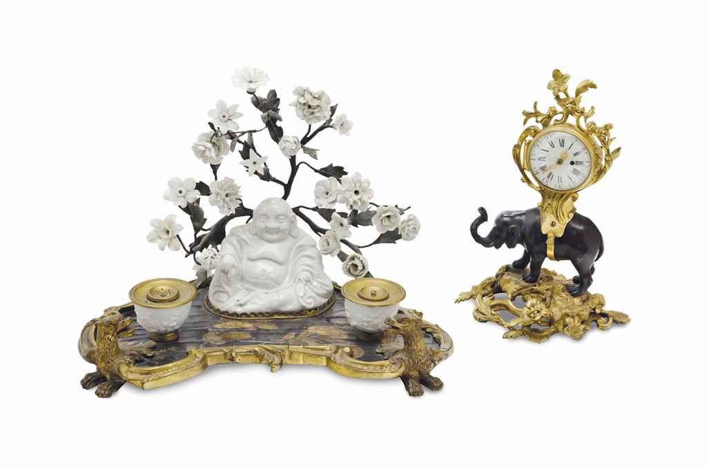 A FRENCH ORMOLU-MOUNTED LACQUER AND PORCELAIN ENCRIER, AND A...