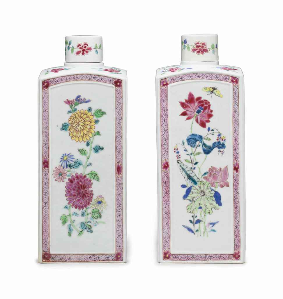 A PAIR OF FAMILLE ROSE GIN BOT