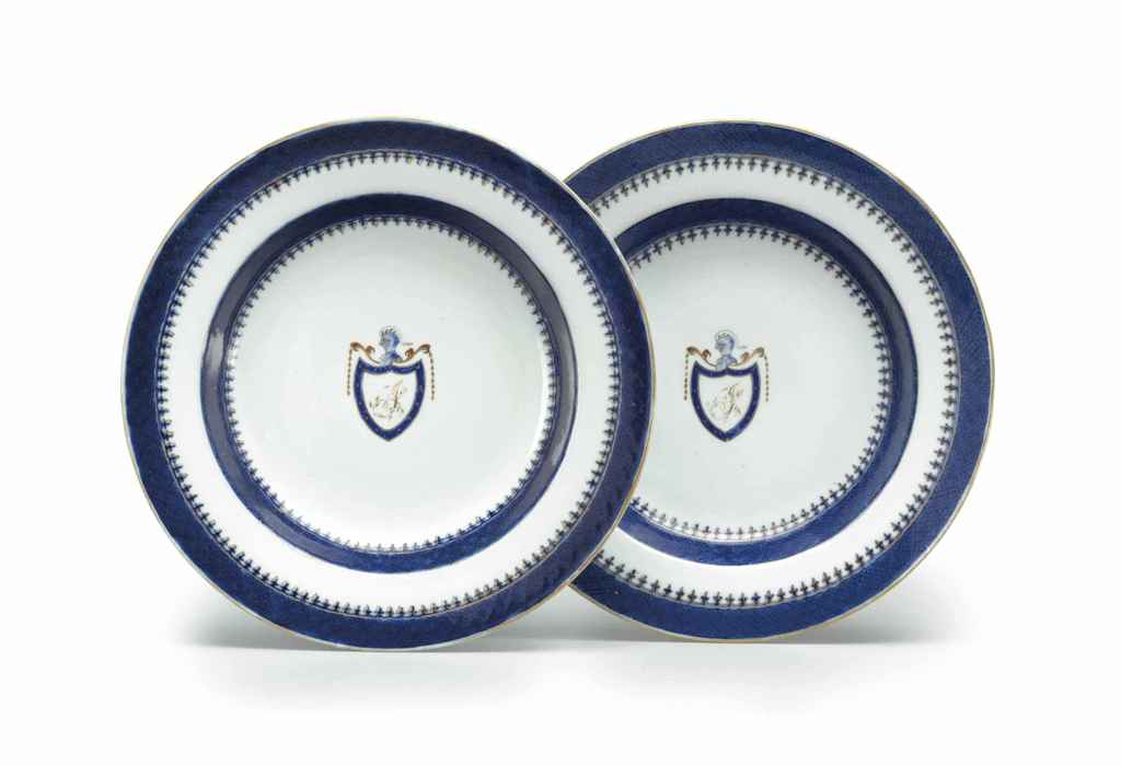 A PAIR OF INITIALED SOUP PLATE