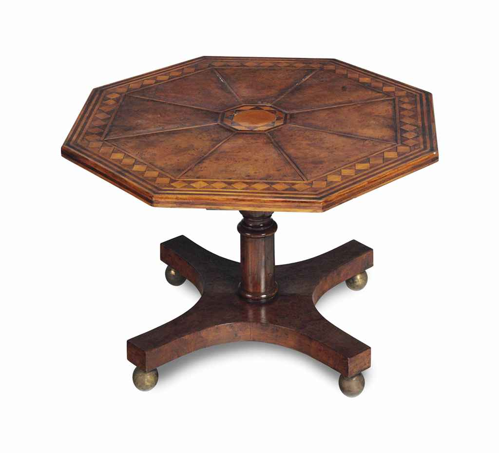 A Satinwood Inlaid Burr Wood Octagonal Low Table