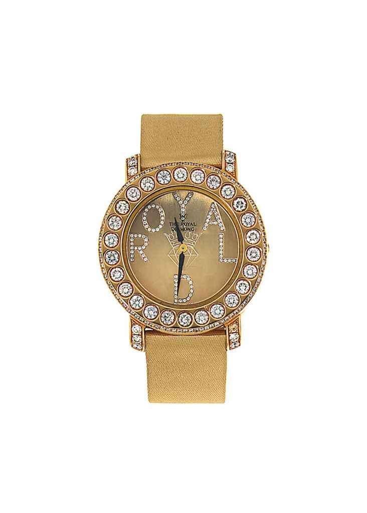 An 18ct pink gold diamond-set quartz wristwatch, by The Roya...