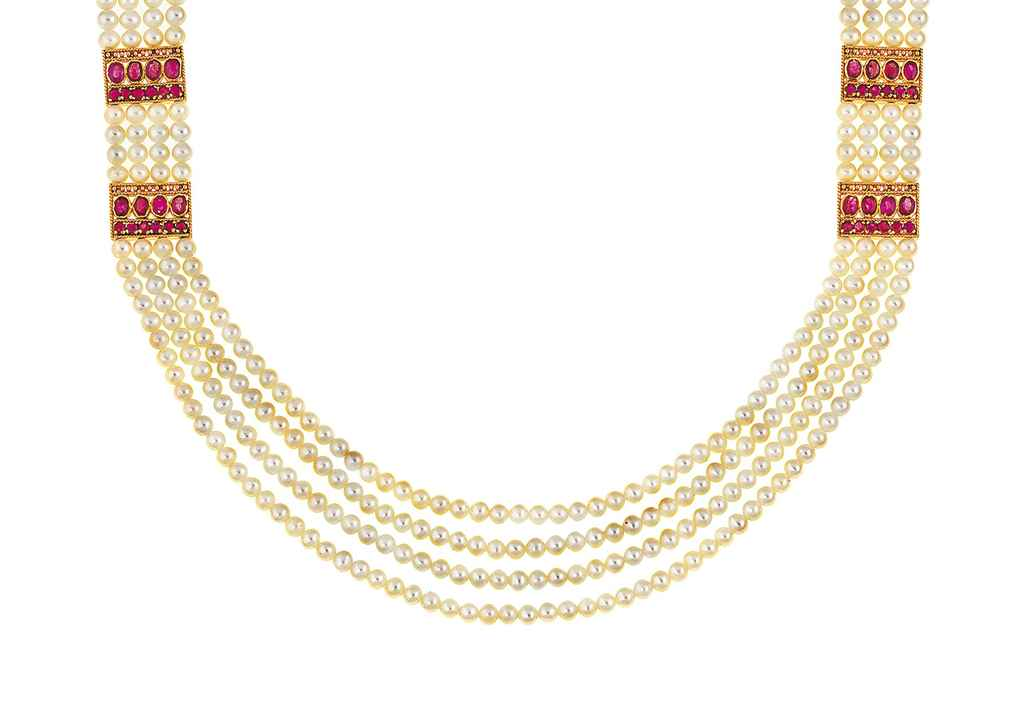 A cultured pearl and ruby necklace and pair of earrings