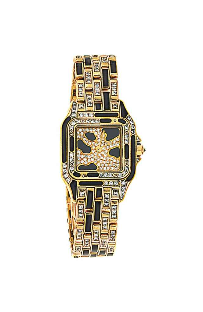 A diamond and enamel 'Panthere' quartz wristwatch, by Cartie...