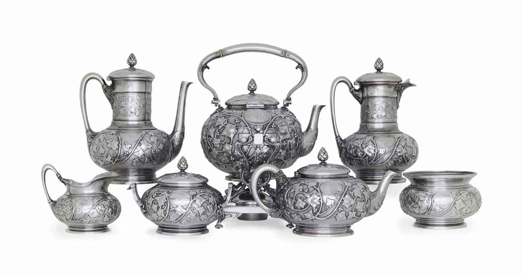 AN AMERICAN SILVER SEVEN-PIECE TEA AND COFFEE SERVICE