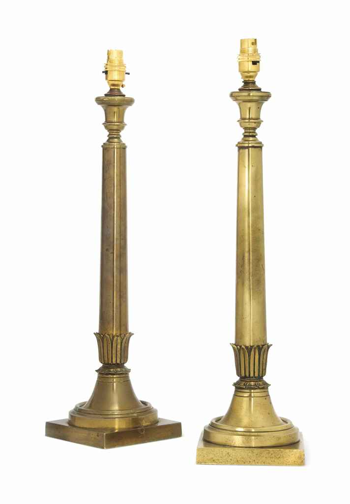 A PAIR OF ENGLISH BRASS TABLE