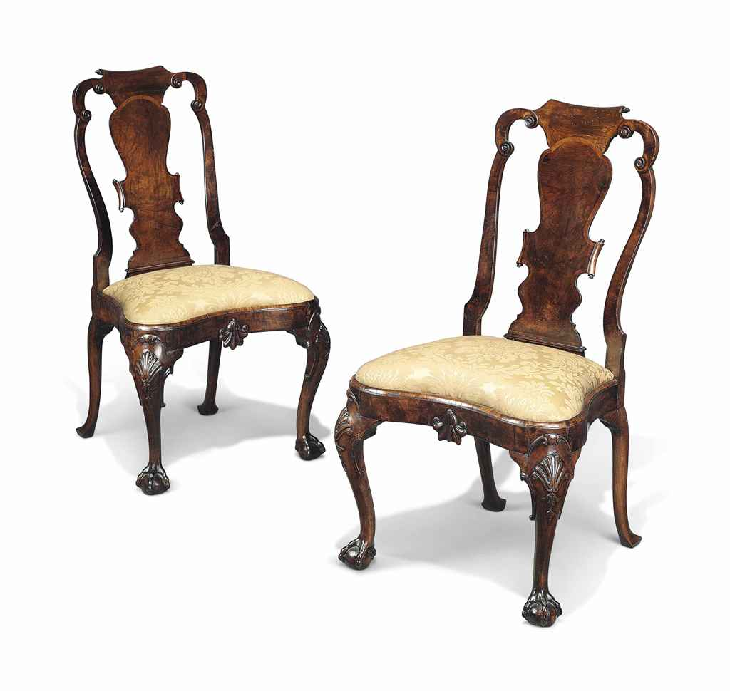A PAIR OF DUTCH WALNUT SIDE CH
