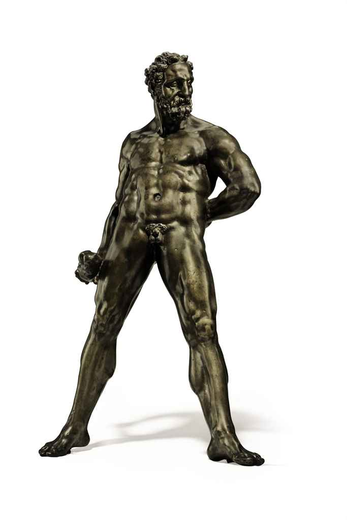 A BRONZE FIGURE OF HERCULES PO