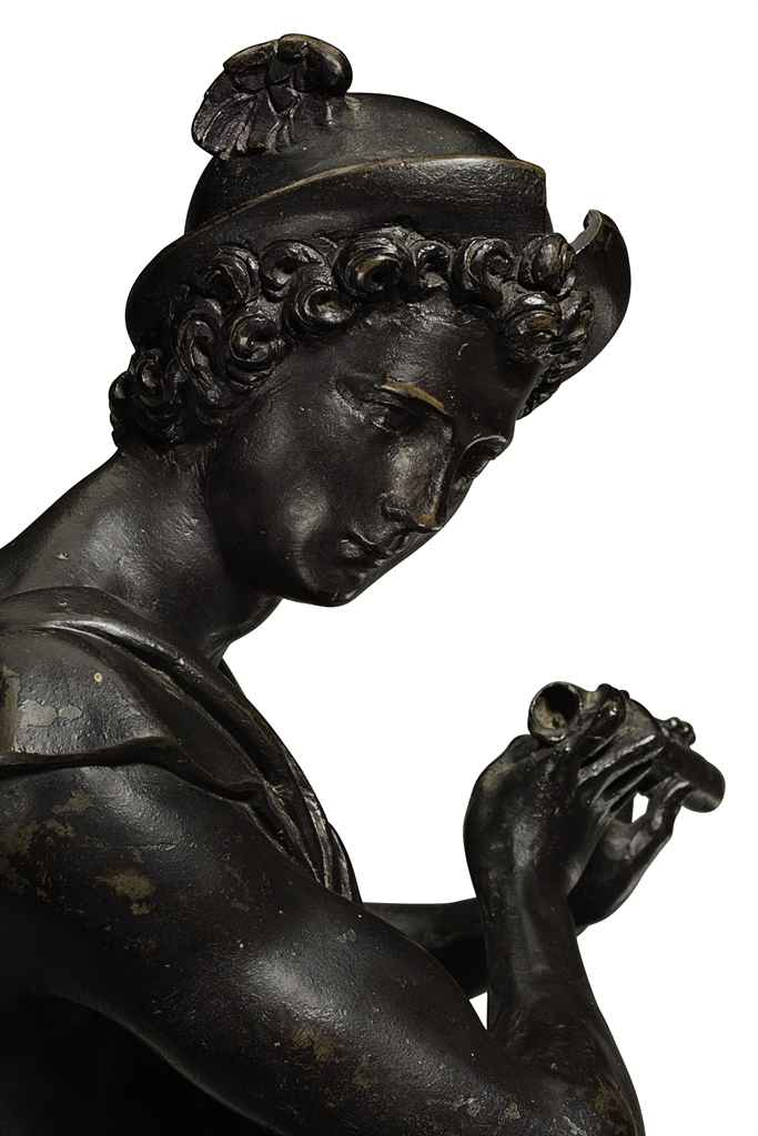 A BRONZE FIGURE OF MERCURY PLA