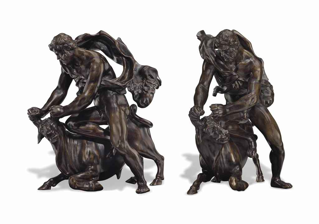 A BRONZE GROUP OF HERCULES WIT