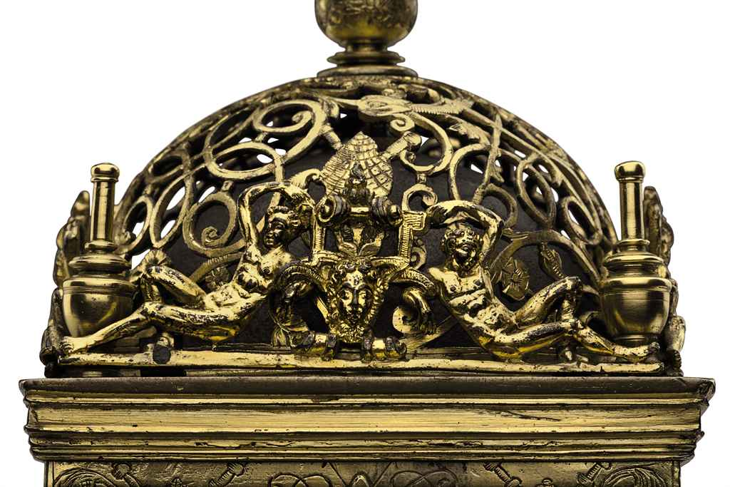 A FRENCH ENGRAVED GILT-BRASS A