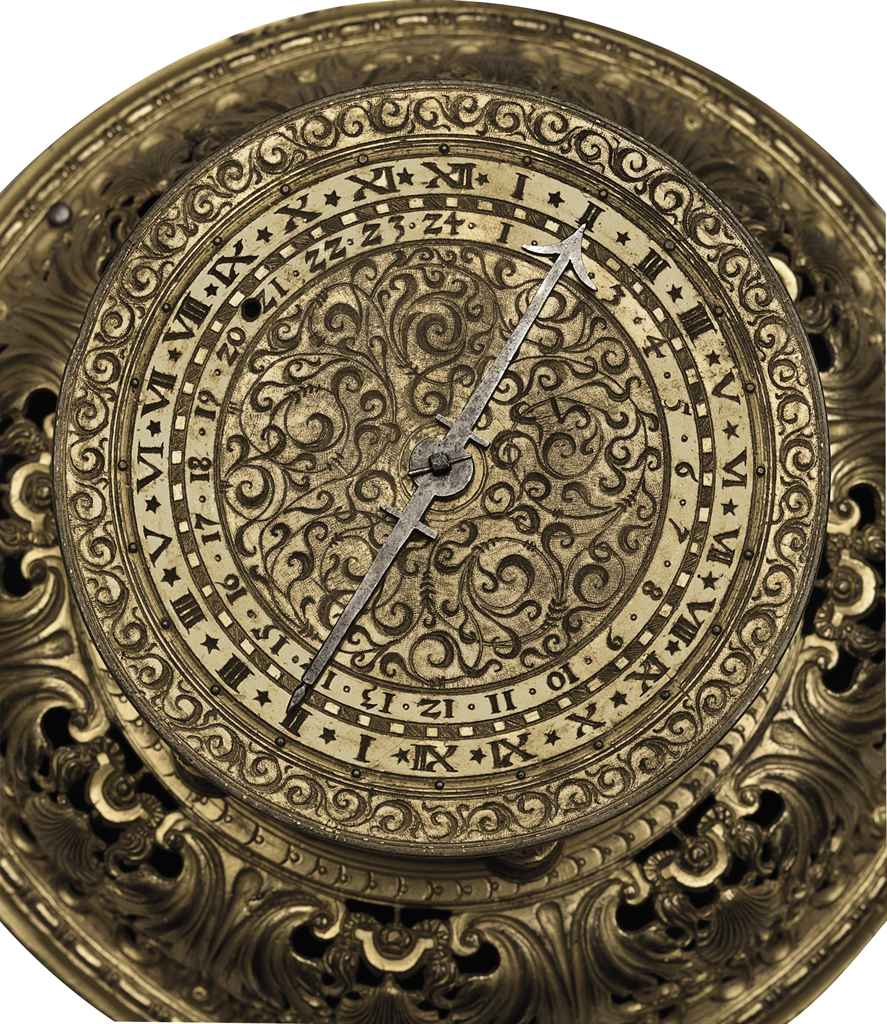 A GERMAN ENGRAVED GILT-BRASS A