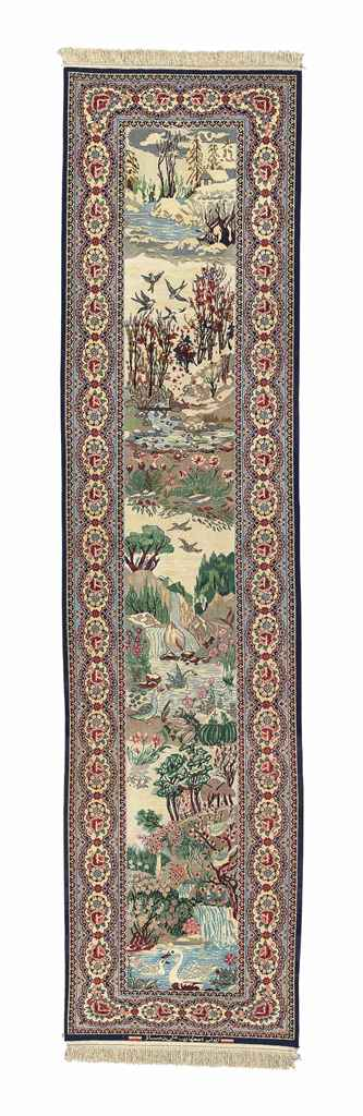 AN EXTREMELY FINE PART SILK ISFAHAN RUNNER, CENTRAL PERSIA