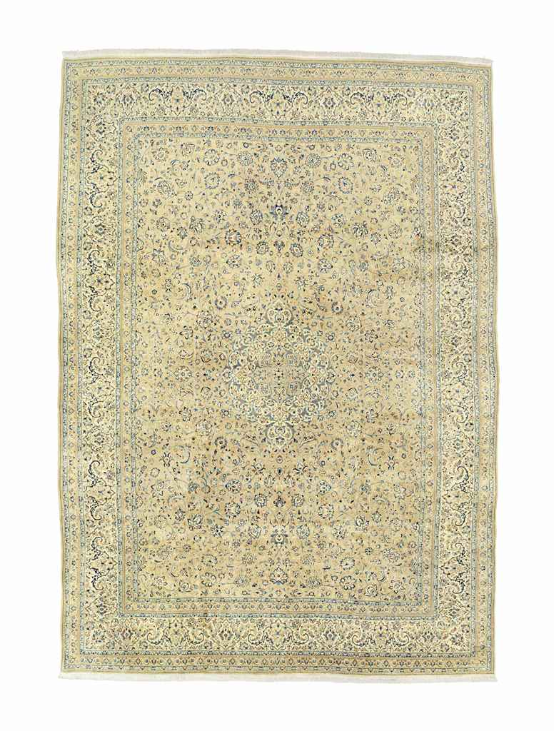 AN EXTREMELY FINE PART SILK NAIN CARPET, CENTRAL PERSIA
